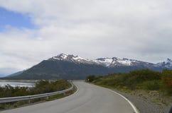 LONG ROAD,GLACIER AND GLOBAL WARMING PERITO MORENO IN EL CALAFATE PATAGONIA ARGENTINA.  Royalty Free Stock Photos