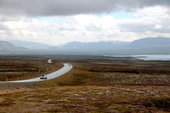 The long road in iceland Royalty Free Stock Images