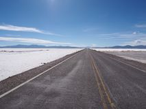 Long road leading towards the horizon through salt flats in Northern Argentina stock photos