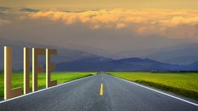 long road in mountains, panoramic image, Taiwan Stock Images