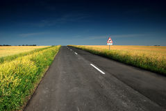 Long road stretching out into the wheat fields. And blue sky Stock Photos