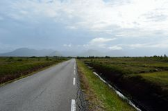 Long road throug flat landscape with mountain and fog. In backdrop stock photo