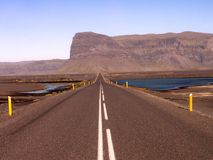 Long road to Iceland. This is the long road that runs around iceland Stock Photos