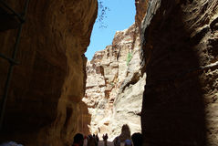The long road to Petra. Jordan. The long, hot road in the ancient city of Petra. Jordan. The road runs between the rocks and through narrow gorges. Ancient Stock Image