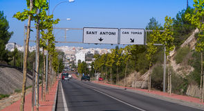 The long road to..... The very famous view tens of thousands of holiday makers see when driving from ibiza airport to San Antoni royalty free stock images