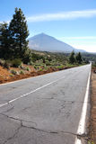 Long road to the volcano. Teide at tenerife Royalty Free Stock Image
