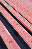 Long row of bleachers Stock Photos