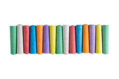 Long row of chalks in the colors of the rainbow Royalty Free Stock Photo