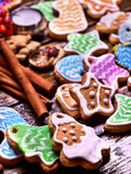 Long row of glazed cookies. Royalty Free Stock Image