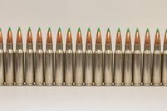 Long Row of Large Caliber Rifle Bullets Stock Image