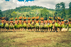 Long row of men in Papua New Guinea Royalty Free Stock Image