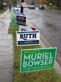 Long Row of Midterm Election Signs in Washington DC stock image