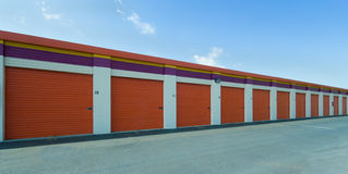 Long Row Of Self-Storage Units Stock Image