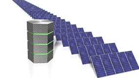 Long row of solar panels next to a green glowing supercomputer Stock Photo