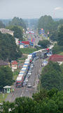 Long row of trucks and cars at Russian bourder in Narva Stock Photos