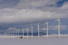 Long row of wind turbines in the winter Royalty Free Stock Photography