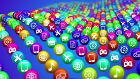 Long Rows of Social News Balls. 3d illustration of wavy colorful social mass media balls placed in lines in the blue background diagonally. They impose various Royalty Free Stock Photography