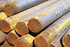 Long rusty steel rods Royalty Free Stock Images