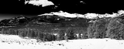 Long`s peak panorama in Black and White Royalty Free Stock Photography
