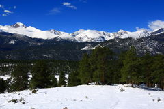 Long`s peak panorama in Rocky Mountain National Park Royalty Free Stock Image