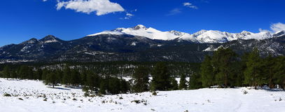 Long`s peak panorama in Rocky Mountain National Park Stock Photo
