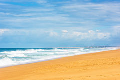 Long Sand Atlantic Beach with ocean waves Stock Images
