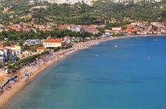 Long sand beach in Baska, Krk island Stock Photo