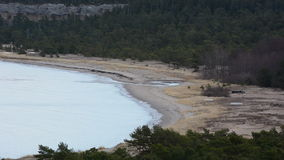 Long sand beach during winter on the island of Gotland in Sweden stock footage