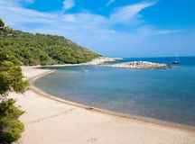 Long sand Turkovic bay  island Mljet Stock Image