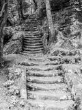 Long sandstone stairs in the forest, Mseno, Kokorinsko, Czech Republic. Stock Images