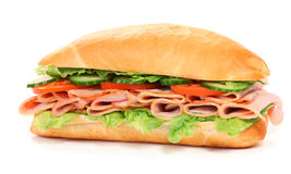 Long sandwich. Isolated on the white background Royalty Free Stock Images