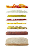 Long sandwich ingredients. With hotdog, pickles, mustard, ketchup and onion Royalty Free Stock Image