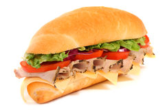 Long sandwich isolated on the white Stock Photography