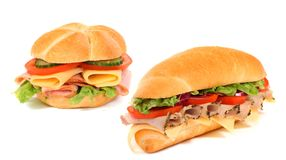 Long sandwich isolated on the white Stock Photos