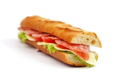 Long sandwich  on white Stock Photography