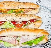Long sandwiches made from integral bred with cheese and vegetabl Royalty Free Stock Image
