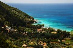 Long sandy beach in Greece Royalty Free Stock Image
