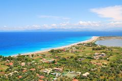 Long sandy beach on the island of Lefkada, Greece Stock Images