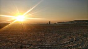 Long and Sandy Sunset beach stock photo