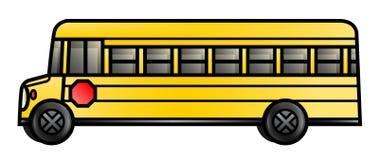 Long School Bus. Illustration of a long cartoon school bus Royalty Free Stock Image
