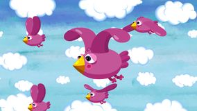 Cartoon title background. Sweet birds are flying in the sky. Long seamless loop. They are sweet and happy. Maybe they are flying to Africa. Good for background royalty free illustration
