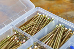 Long self-tapping screws in transparent plastic storage box on a wooden bench Stock Images