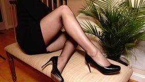 Free Long Sexy Legs Stilettos Black Stockings Stock Photography - 197299722