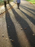 Long shadow. Elderly couple with two sticks taken in late afternoon Stock Image