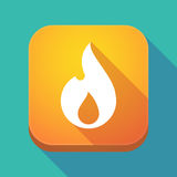 Long shadow app icon with a flame. Illuatration of a long shadow app icon with a flame Stock Photos