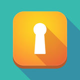Long shadow app icon with a key hole Royalty Free Stock Photography