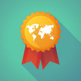 Long shadow badge with a world map Stock Image