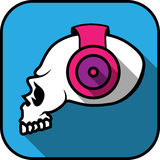 Long shadow dj skull icon Stock Images