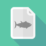 Long shadow document with  a tuna fish Royalty Free Stock Photography
