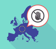 Long shadow EU map with  a hand  in a not allowed signal. Illustration of a long shadow European Union map with its flag, and a comic balloon with  a hand  in a Royalty Free Stock Images